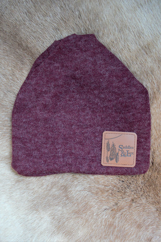 Saddles & Lace Burgundy Beanie - Convertible Style
