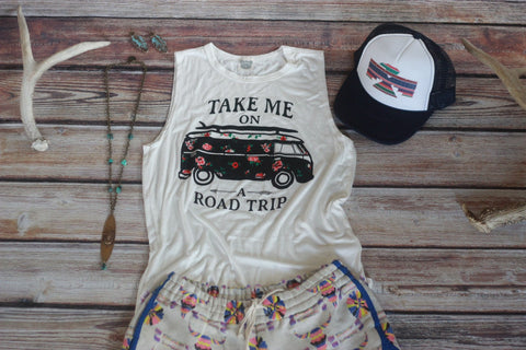 Road Trip White Tank Top