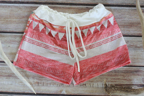 Sunrise Tribal Print Terry Shorts - Saddles & Lace - New western and southwest inspired clothing, bags, and accessories for women