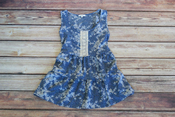 Sleeveless Denim Blue Tiered Print Tank - Saddles & Lace - New western and southwest inspired clothing, bags, and accessories for women