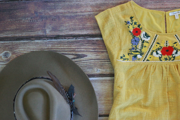 Moody Ranch - Yellow Embroidered Dress - Saddles & Lace - New western and southwest inspired clothing, bags, and accessories for women
