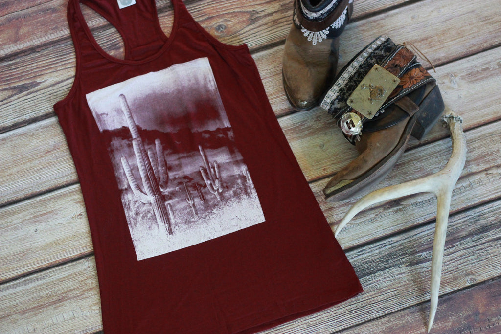 Cactus Scene Racerback Tank Top - Saddles & Lace - New western and southwest inspired clothing, bags, and accessories for women