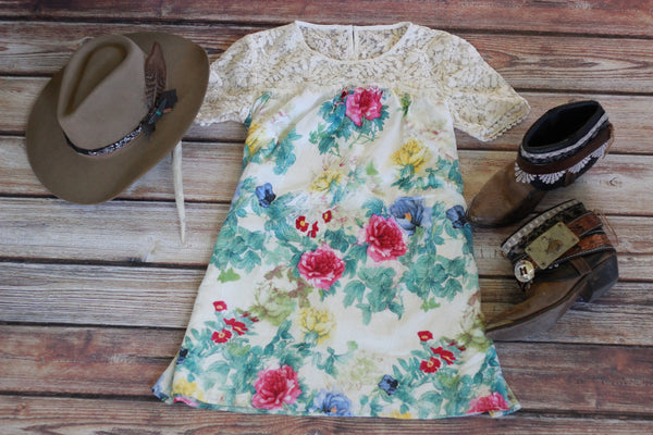 Colorful Floral Mini Dress - Lace Yoke Detail
