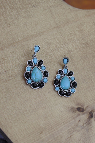 Turquoise & Black Cluster Earrings