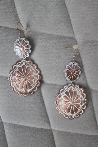 Greeley Earrings - Copper Concho Drop Earrings - Saddles & Lace Boutique - Western and boho inspired clothing, bags, and accessories for women