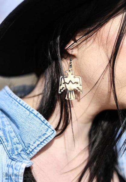 Metal Thunderbird Earrings - Cream - Saddles & Lace - New western and southwest inspired clothing, bags, and accessories for women