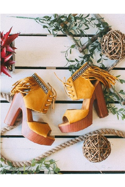 The Santa Fe - Yellow Fringed Lace Up Platform Sandals - Saddles & Lace Boutique - Western and boho inspired clothing, bags, and accessories for women