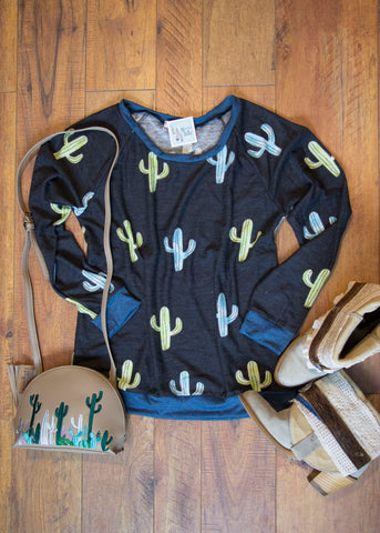 All Over Cactus Print- Sweater in Black - Saddles & Lace Boutique - Western and boho inspired clothing, bags, and accessories for women