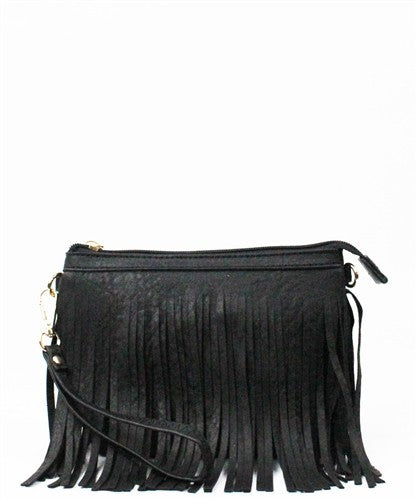 Black Fringe Cross Body Purse - Saddles & Lace Boutique - Western and boho inspired clothing, bags, and accessories for women