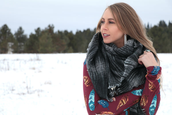 Orchard Prairie Blanket Scarf - Black - Saddles & Lace - New western and southwest inspired clothing, bags, and accessories for women