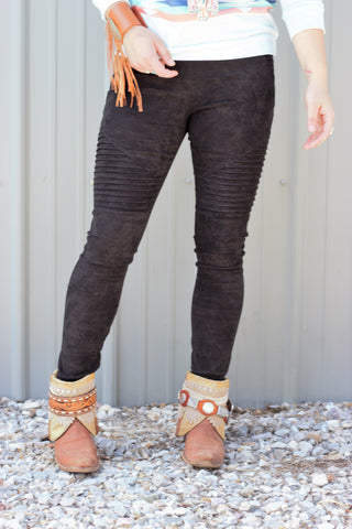Faux Suede Moto Leggings - Black - Saddles & Lace - New western and southwest inspired clothing, bags, and accessories for women