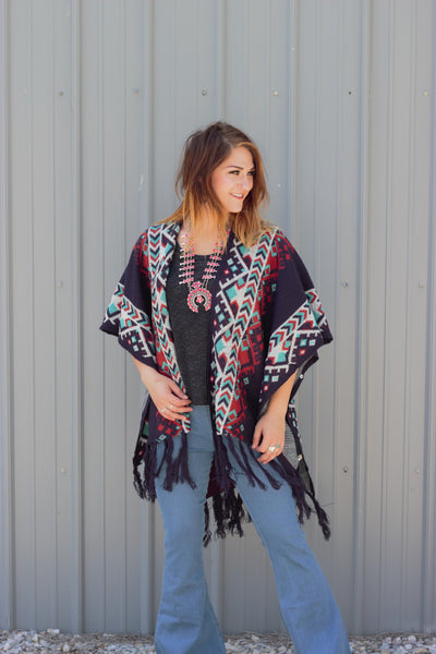 The River - Blue Knit Tribal Poncho - Saddles & Lace Boutique - Western and boho inspired clothing, bags, and accessories for women