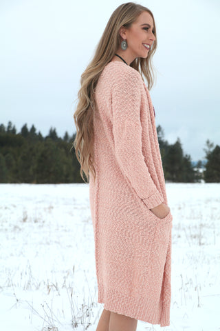 Blush Maxi-Sweater with Pockets - Saddles & Lace - New western and southwest inspired clothing, bags, and accessories for women