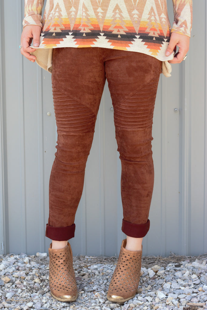 Faux Suede Moto Leggings - Brown - Saddles & Lace Boutique - Western and boho inspired clothing, bags, and accessories for women