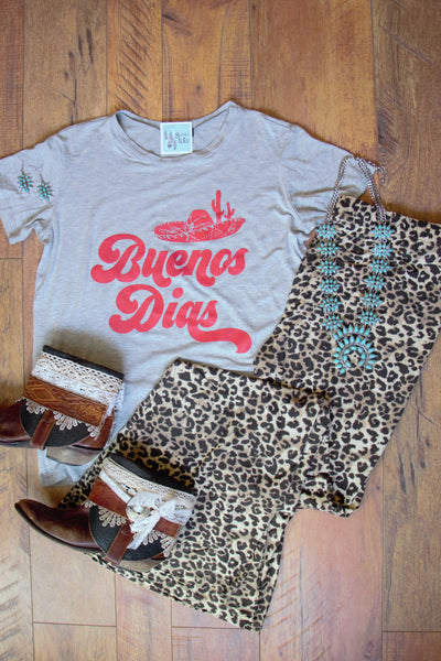 Buenos Dias- Heather Grey Tee Shirt - Saddles & Lace Boutique - Western and boho inspired clothing, bags, and accessories for women