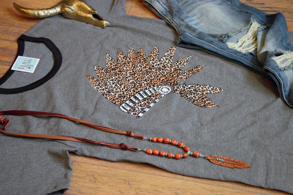 Cheetah Headdress Graphic Charcoal Tee - Saddles & Lace Boutique - Western and boho inspired clothing, bags, and accessories for women