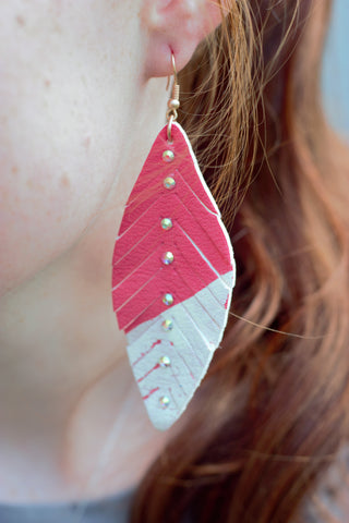 Dipped Coral Feather Earrings - Saddles & Lace Boutique - Western and boho inspired clothing, bags, and accessories for women