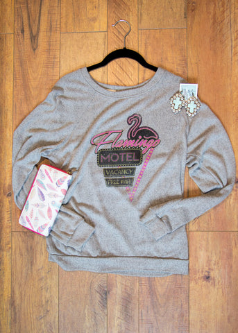 Flamingo Motel Sweater in Gray - Saddles & Lace - New western and southwest inspired clothing, bags, and accessories for women
