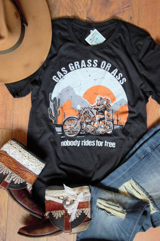 Gas, Grass, or ... - Black Tee Shirt - Saddles & Lace - New western and southwest inspired clothing, bags, and accessories for women