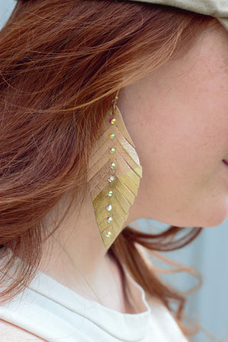 Dipped Gold Feather Earrings - Saddles & Lace Boutique - Western and boho inspired clothing, bags, and accessories for women