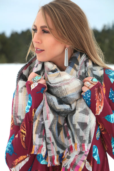 Pinto Creek Blanket Scarf -  Grey - Saddles & Lace Boutique - Western and boho inspired clothing, bags, and accessories for women