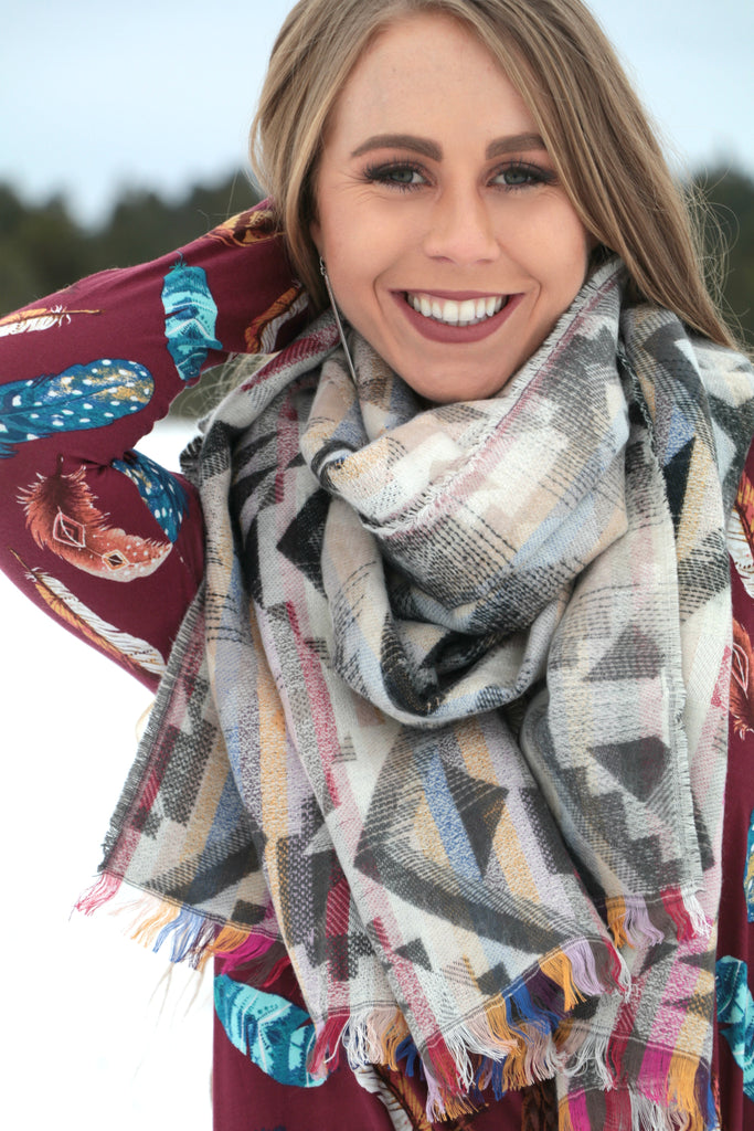 Pinto Creek Blanket Scarf -  Grey