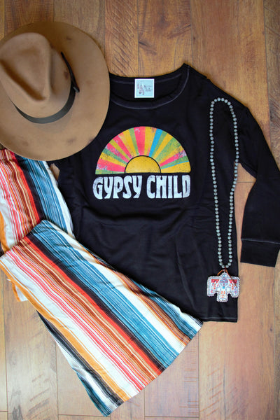 Gypsy Child Sweater - Black Long Sleeve - Saddles & Lace Boutique - Western and boho inspired clothing, bags, and accessories for women