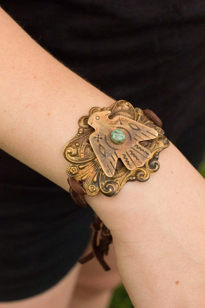 Brass Thunderbird Bracelet - Saddles & Lace - New western and southwest inspired clothing, bags, and accessories for women