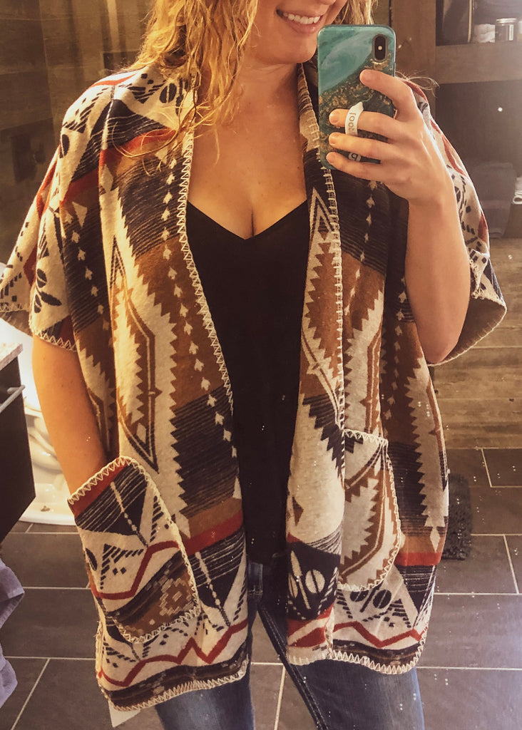 Little Spokane Poncho Cape - Saddles & Lace Boutique - Western and boho inspired clothing, bags, and accessories for women