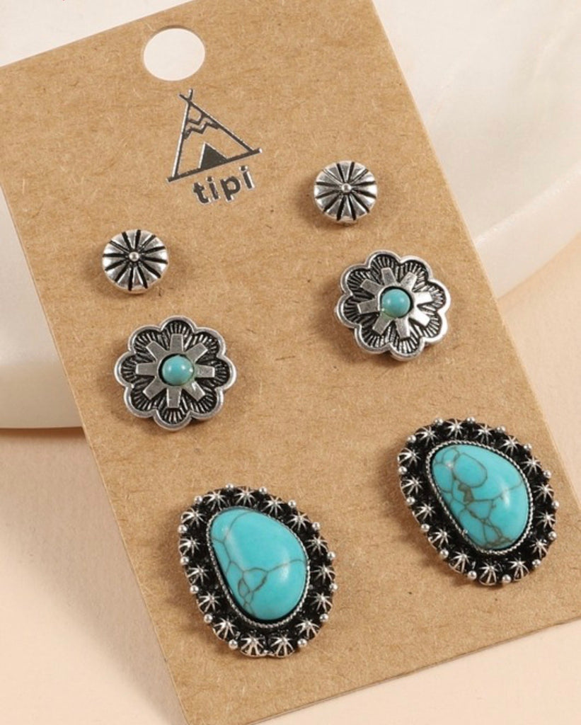Turquoise Sedona - Earring Set - Saddles & Lace Boutique - Western and boho inspired clothing, bags, and accessories for women