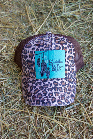Custom Saddles and Lace Trucker Hat- Dark Cheetah - Saddles & Lace Boutique - Western and boho inspired clothing, bags, and accessories for women