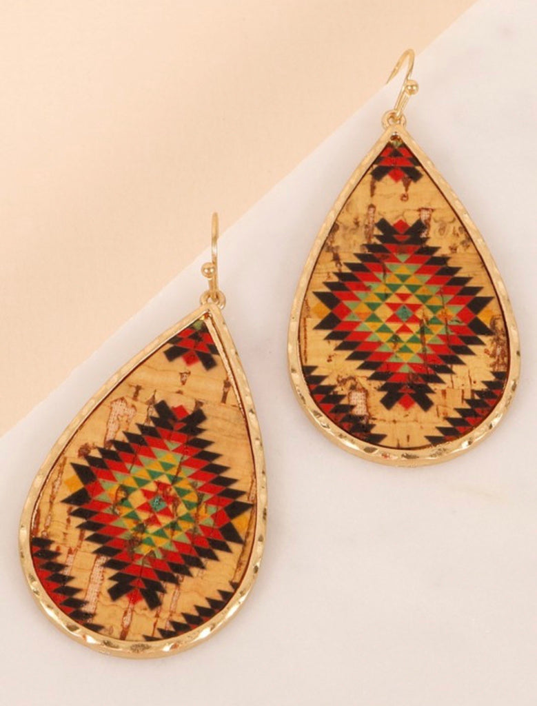 Tear Drop Cork Earrings