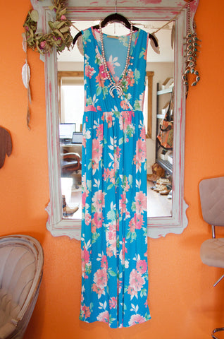 Bright Blues Floral Maxi Dress - Saddles & Lace Boutique - Western and boho inspired clothing, bags, and accessories for women