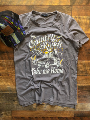 Country Roads & Old Pick Up Trucks - Tee Shirt - Saddles & Lace Boutique - Western and boho inspired clothing, bags, and accessories for women