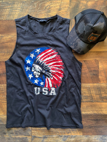 American Thunder - Tank Top - Saddles & Lace Boutique - Western and boho inspired clothing, bags, and accessories for women