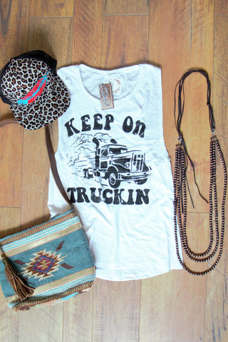 Keep on Truckin' - Vintage Tank Top - Saddles & Lace Boutique - Western and boho inspired clothing, bags, and accessories for women
