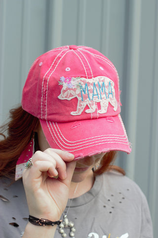 Mama Bear Lace Hat in Coral