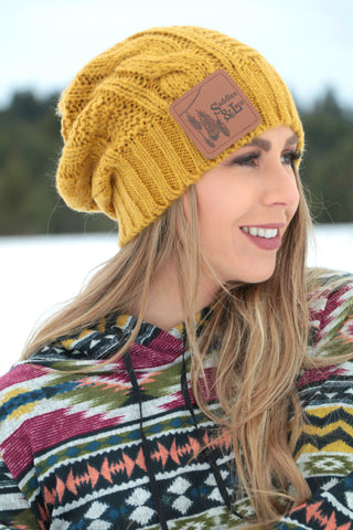9add687ecf7 Saddles   Lace Slouch Beanie - Mustard