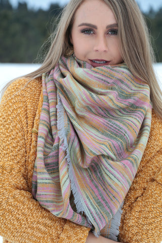 Orchard Prairie Blanket Scarf -  Yellow / Pink - Saddles & Lace Boutique - Western and boho inspired clothing, bags, and accessories for women