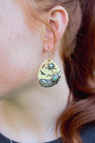 Native Scene Silver Earrings