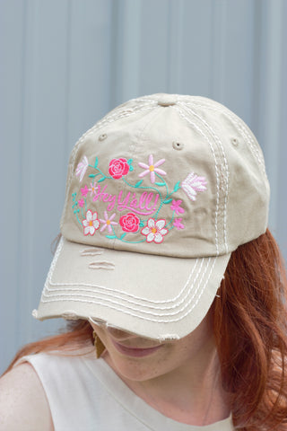 Tan 'Hey Ya'll' Embroidered Hat - Saddles & Lace Boutique - Western and boho inspired clothing, bags, and accessories for women