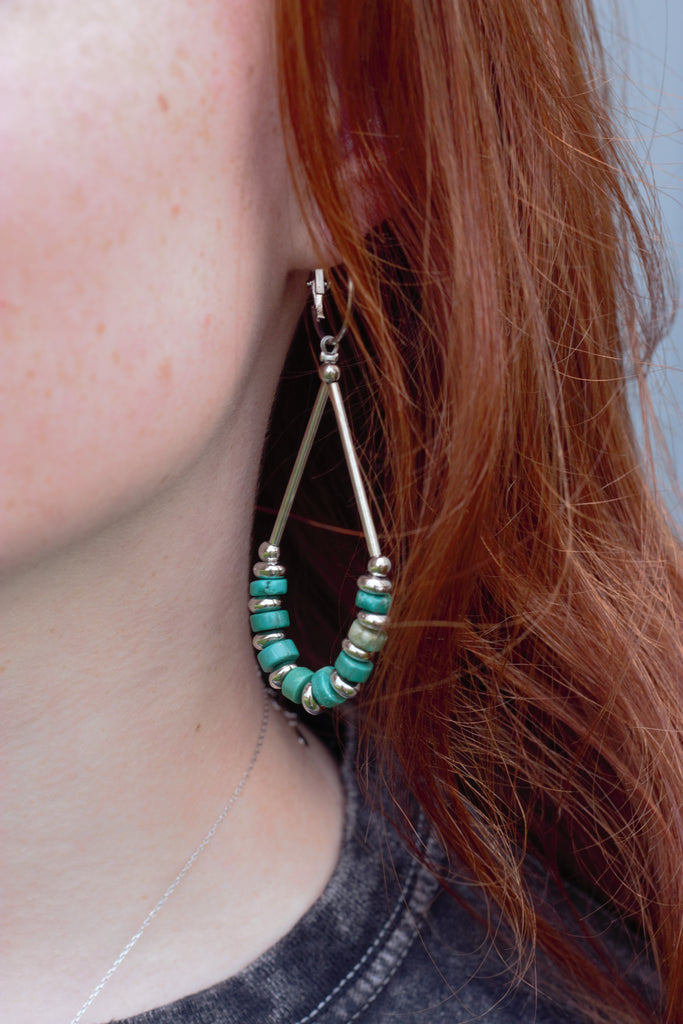 Teardrop Hoops Turquoise & Silver Earrings