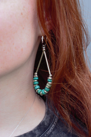 Teardrop Hoops Turquoise & Silver Earrings - Saddles & Lace Boutique - Western and boho inspired clothing, bags, and accessories for women