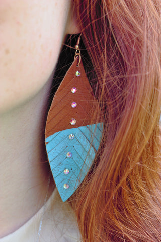 Dipped Turquoise Feather Earrings - Saddles & Lace Boutique - Western and boho inspired clothing, bags, and accessories for women