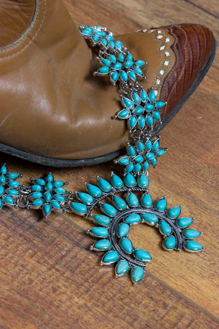 The Turquoise Sunshine - Faux Squash Blossom Style Necklace