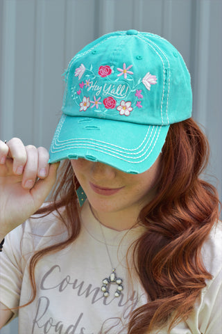 Turquoise 'Hey Ya'll' Embroidered Hat - Saddles & Lace Boutique - Western and boho inspired clothing, bags, and accessories for women