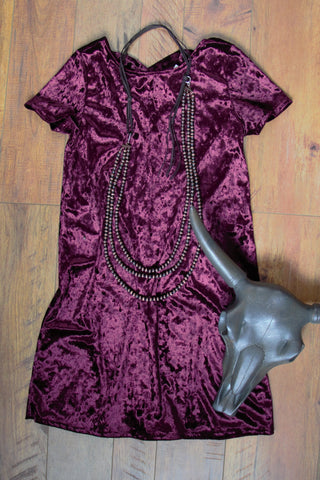 Velvet Rose -  Dress With Criss-Cross Back - Saddles & Lace Boutique - Western and boho inspired clothing, bags, and accessories for women