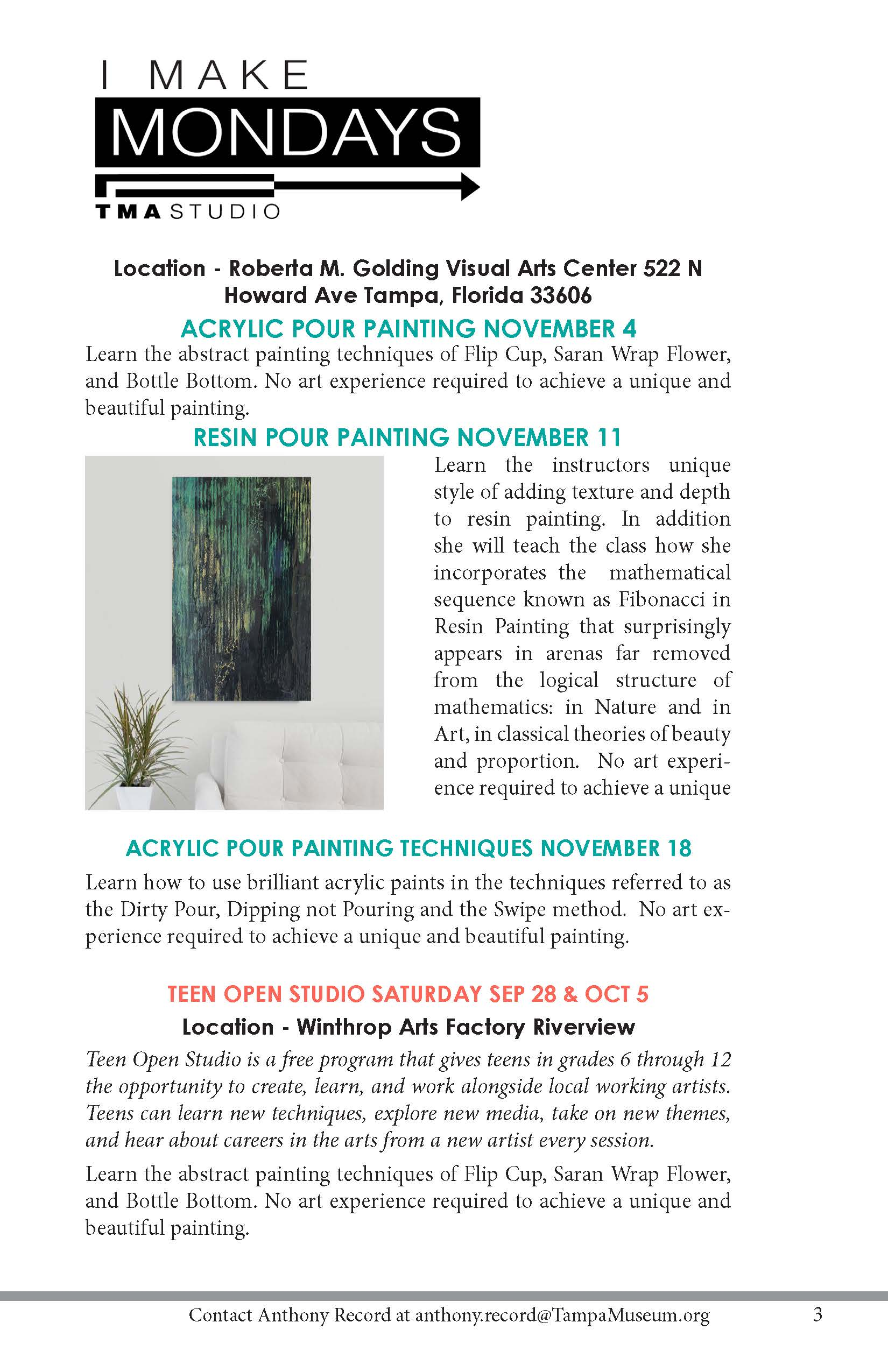 Tampa Museum of Art Resin and Acrylic Pour Painting Classes