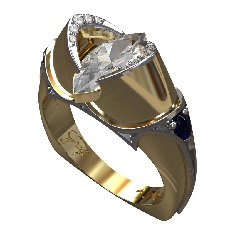 Marquis Diamond and Gold Engagement Ring