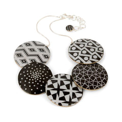 Polymer Clay Black and White Necklace by Louise Fischer Cozzi